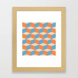 Orange, Blue and Tan Boxes Framed Art Print
