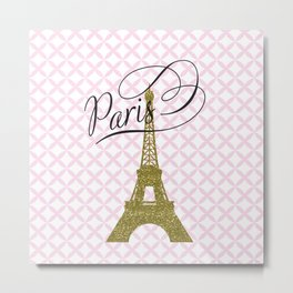 Pink Eiffel Tower , Paris, France , gift for her Metal Print