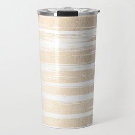 White Gold Sands Painted Stripes Travel Mug