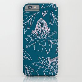 Tropical Ginger Plants in Coral + Dark Teal Green iPhone Case