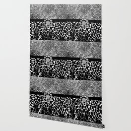 Animal Print Leopard Glam Silver and Black Diamond Wallpaper