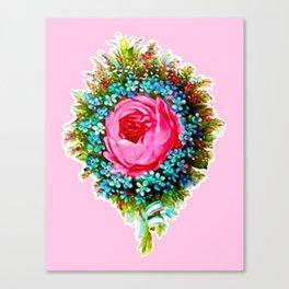 Retro Vintage Floral Bouquet Rose Canvas Print