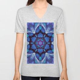 Digital Art Bue and Purple Kaleidoscope - Geometric Colorful Unisex V-Neck