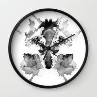 rorschach Wall Clocks featuring Rorschach by Robert Farkas
