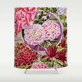 Vintage Flowers Burgundy Pink Blue Shower Curtain