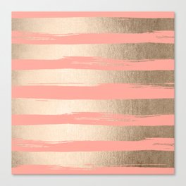 Painted Stripes Tahitian Gold on Coral Pink Canvas Print