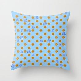Spiral and golden flowers Throw Pillow