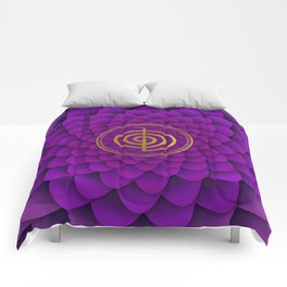 Gold Choku Rei Symbol on lotus Comforters