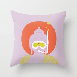 Buddha : Take A Deep Breath! (PopArtVersion) Throw Pillow