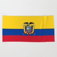 Flag of Ecuador -ecuadorian,Inca,Kichwa,Quito,america, South america,Spanish,Amazonia,latin america Beach Towel
