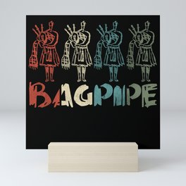 Retro Bagpipe Distressed Mini Art Print