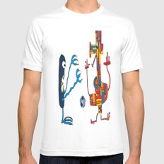 Two monsters playing football MEDIUM White Mens Fitted Tee