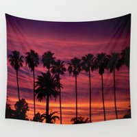 hollywood Wall Tapestries featuring Sunset over Hollywood by Amy J Smith Photography