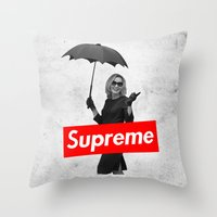 supreme Throw Pillows featuring The Supreme by Dandy