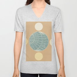 Bohemian Moon - Mid Century Modern Circles Unisex V-Neck
