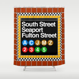 subway south street seaport sign Shower Curtain