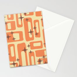 Retro Mid Century Modern Abstract Pattern 577 Orange Brown Stationery Cards