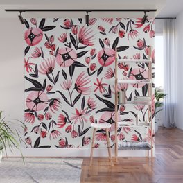 Black and Peach Flowers - Watercolor Pattern Wall Mural