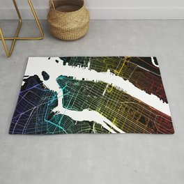 Colourful City Map of New York, USA Rug