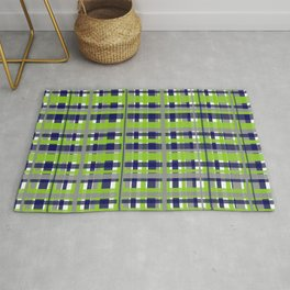 Retro Modern Plaid Pattern in Lime Green, Bright Navy Blue, Gray, and White Rug