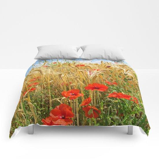 Poppy in a wheatfield Comforters