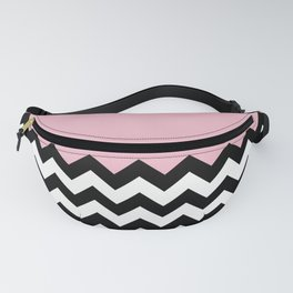 Black and White Zigzag Pattern, Chevron, Pink Fanny Pack