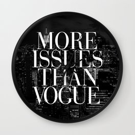 More Issues Than Vogue Black and White NYC Manhattan Skyline Wall Clock