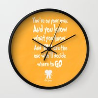 dr seuss Wall Clocks featuring dr seuss: you're on your way by studiomarshallarts