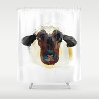 sheep Shower Curtains featuring sheep by Alvaro Tapia Hidalgo