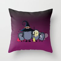 animal crew Throw Pillows featuring Halloween party crew by mangulica illustrations