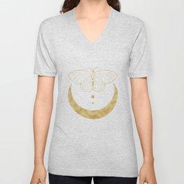 Crescent Moon Butterfly Celestial Print in Gold Unisex V-Neck