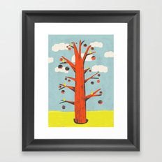 Red Tree, Yellow Birds Framed Art Print