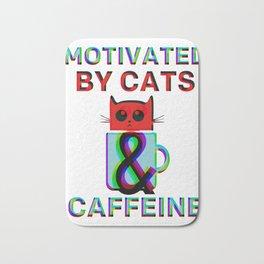 Motivated By Cats & Caffeine Bath Mat