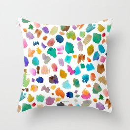 COLOR FLAKES Watercolor Brushstrokes Throw Pillow