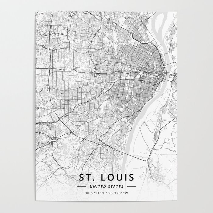 St. Louis, United States - Light Map Poster by designermapart