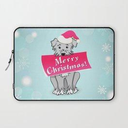 blue merry christmas Laptop Sleeve