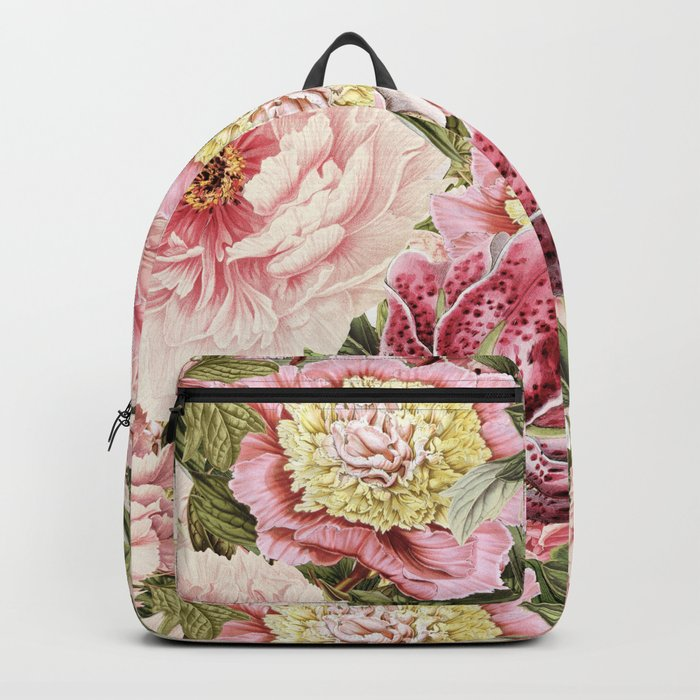 Vintage & Shabby Chic Floral Peony & Lily Flowers Watercolor Pattern Rucksack