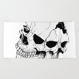 Skull (Fragmented and Conjoined) Beach Towel