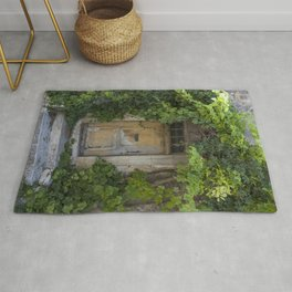 Provence Door covered with green vines Rug