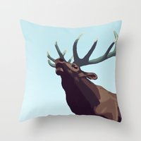 elk Throw Pillows featuring Elk by Of Newts and Nerds