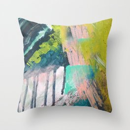 Melt: a vibrant abstract mixed media piece in blues, greens, pink, and white Throw Pillow