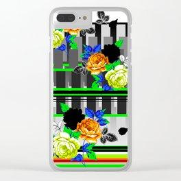 Chintz Rose Orange & Green Clear iPhone Case