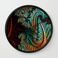 queer Wall Clocks featuring Queer Jungle Fractal Art by ORourkeDesigns