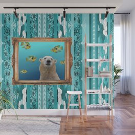 Icebear tropical fishes barock frame turquoise pattern Wall Mural
