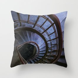 Spiral staircase in blue Throw Pillow
