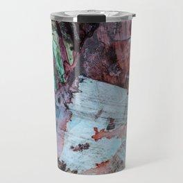 Watercolor green violet brown gray texture Travel Mug