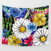 daisies Wall Tapestries featuring daisies by Alisa Burke