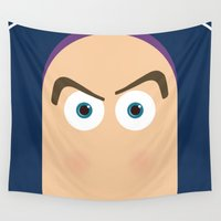 pixar Wall Tapestries featuring PIXAR CHARACTER POSTER - Buzz Lightyear - Toy Story by Marco Calignano