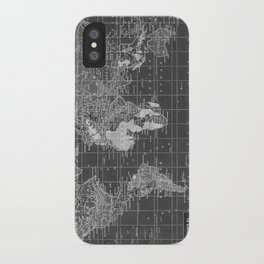 Black and White Vintage World Map iPhone Case