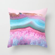 Rose Quartz and Serenity Agate Throw Pillow
